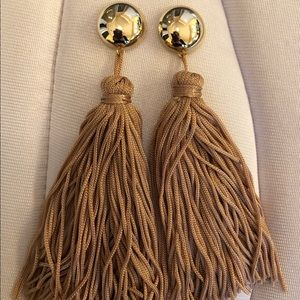 Beige and Gold Tassel Earrings